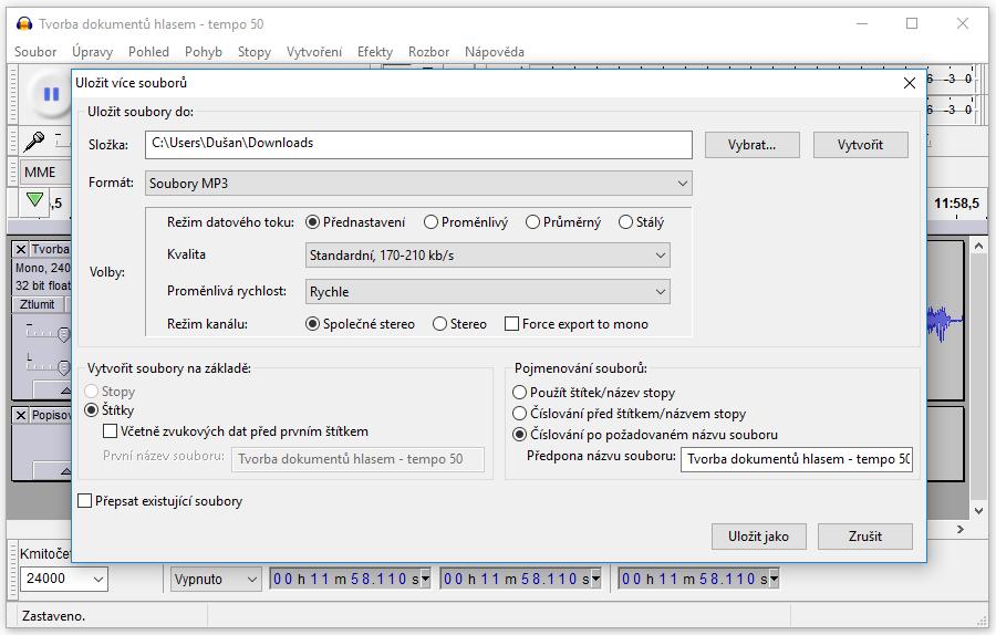 Změnit tempo a rozdělit MP3 soubor pomocí Audacity